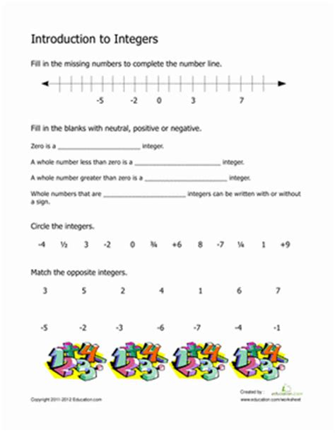 Introduction To Geometry Worksheet by Introduction To Integers Worksheet Education