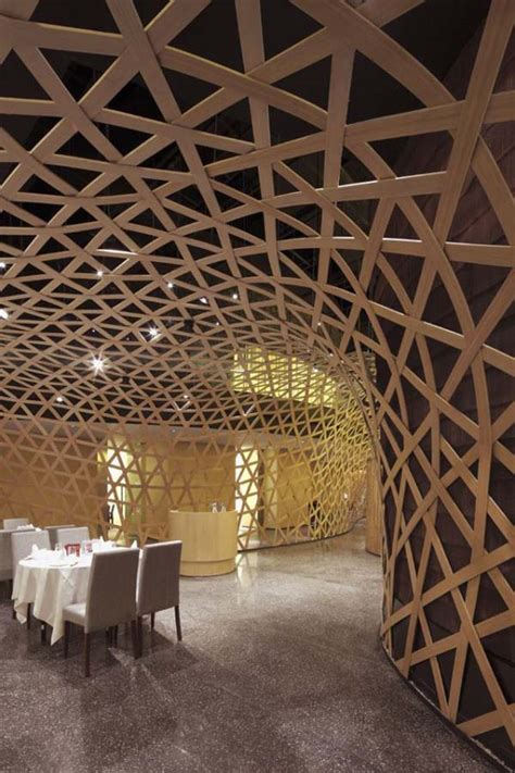 The Bamboo Ceiling by Modern Restaurant Design Featuring Cool Bamboo Elements