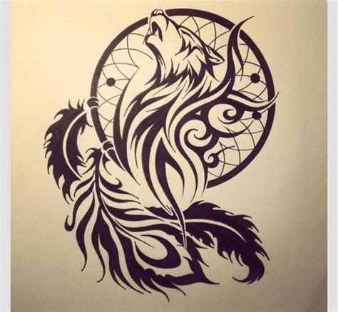 Tattoo Dreamcatcher Tribal | tribal wolf with a dream catcher another one maybe