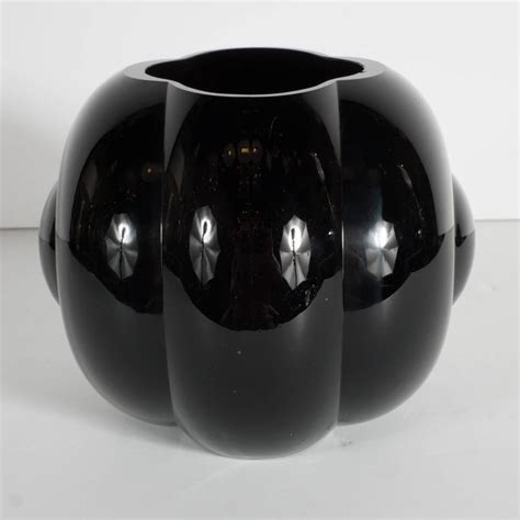 Black Glass For Vases by Deco Black Glass Fishbowl Vase By George Sakier For