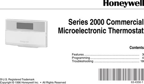 Honeywell Thermostat Series 2000 Users Manual 63 4356