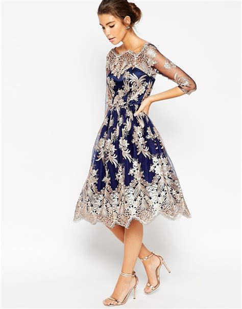Premium Blue Lace Mid Slit Dress lyst chi chi premium lace midi prom dress with bardot neck in blue