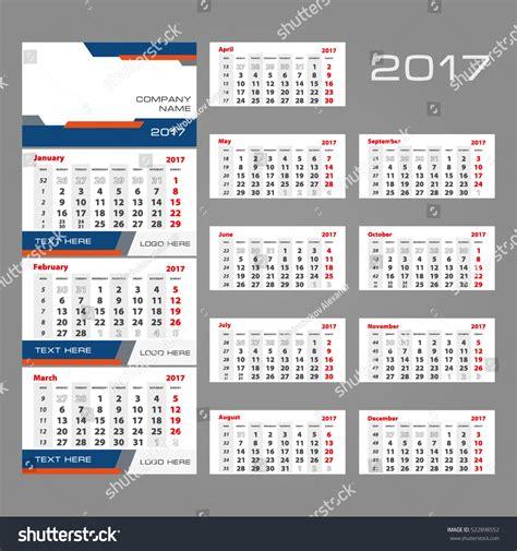 2017 vector calendar template three month stock vector