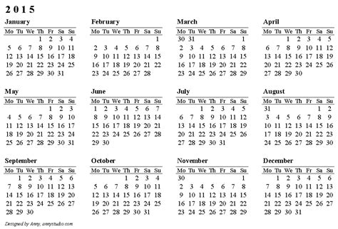 printable calendar 2015 free pdf horizontal single page calendar 2015 weeks are in rows