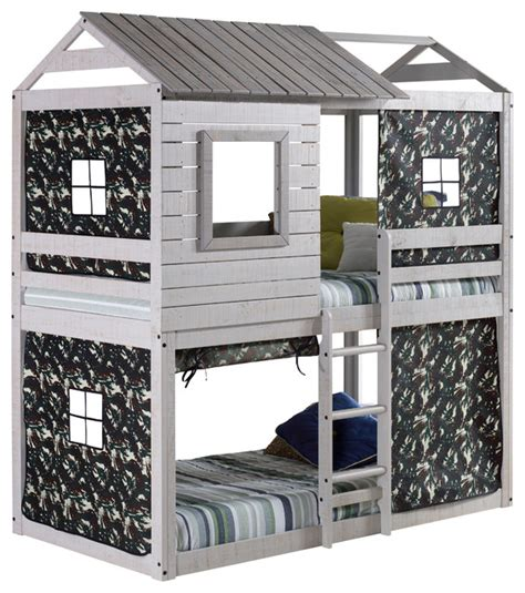 clubhouse bunk bed sleep play usa cbell s clubhouse bunk bed with green camo tent bunk beds houzz