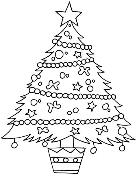 Decorating Christmas Tree Coloring Pages Womanmate Com New Tree Coloring Pages