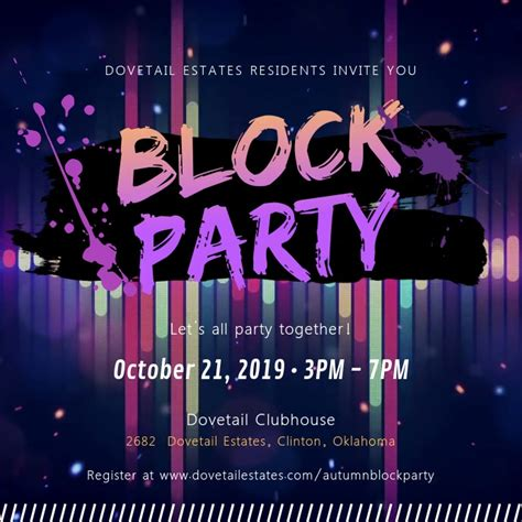 block party neon invitation video template postermywall