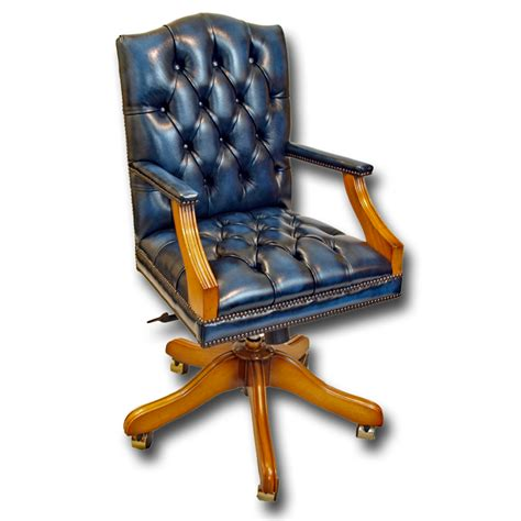 reproduction mini gainsborough leather swivel chair traditional classic design