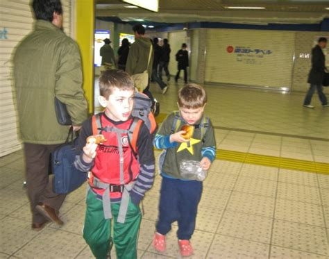 in japan small children take the subway and run errands eating in tokyo and japan with kids
