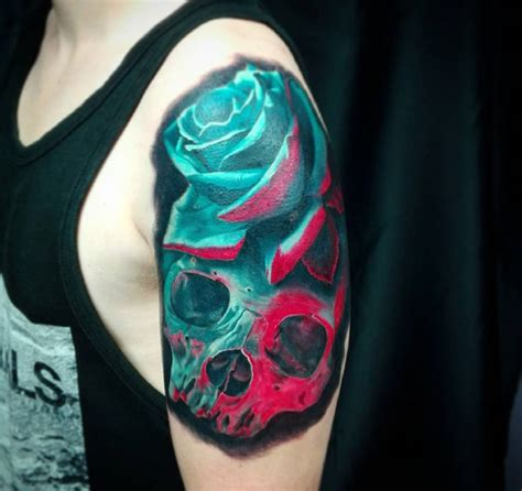 tattoo ideas roses arm 3d skull rose mens arm tattoo best tattoo design ideas