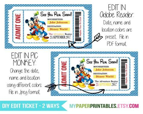 printable disneyland tickets welcome to my paper printables surprise your loved ones