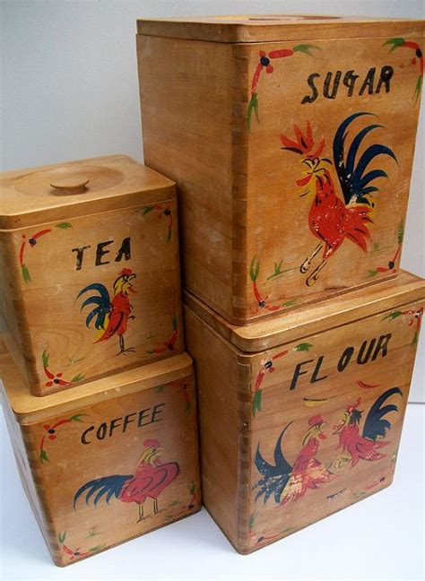 vintage wooden set kitchen canisters quicksales com au set of four vintage 1950 s wooden kitchen canisters with