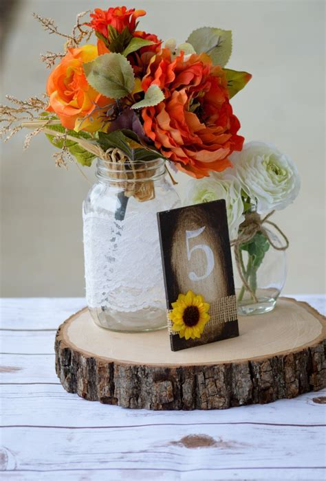 sunflower table numbers, sunflower wedding, rustic fall