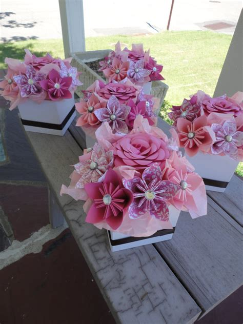 Origami Paper Flowers Wedding - origami paper flower centerpiece set of 5 kusudama by