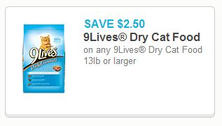 printable 9 lives cat food coupons new high value coupon for 2 50 off 9lives dry cat food