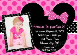 birthday invitations girls pink minnie mouse party 1st