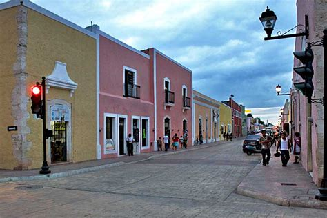 Pastel Houses in Valladolid, Central Yucatan, Mexico