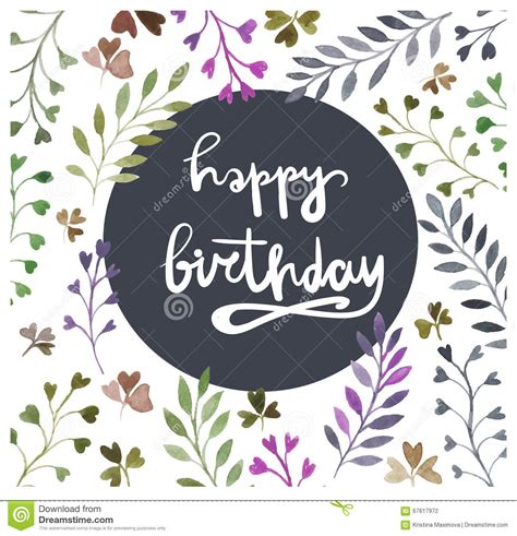birthday card template floral happy birthday card watercolor painting lettering
