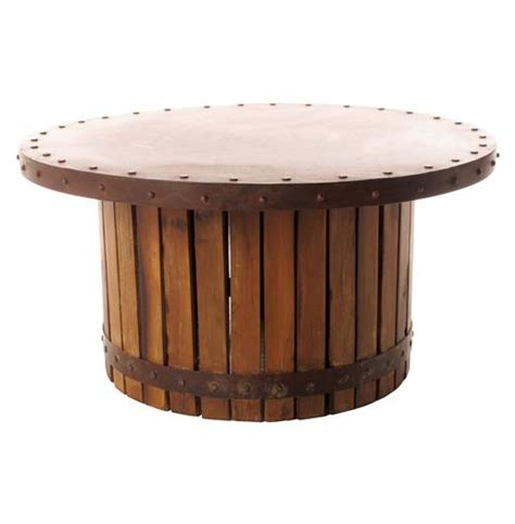 sonoma vintage copper iron wood barrel coffee table