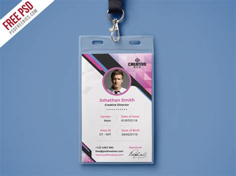 vertical id card template psd company photo identity card psd template psdfreebies