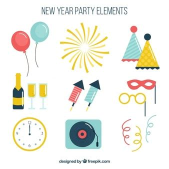 new year five elements colored clocks vector free