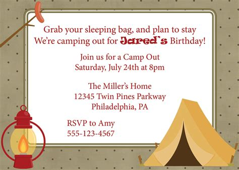 camp out invitations printable free camping out birthday campout invitation camping camp out
