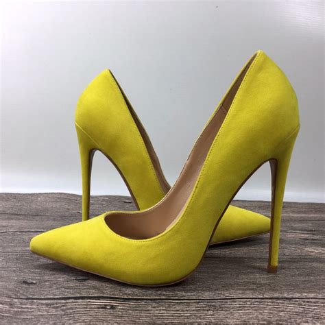 yellow high heels exclusive patent brand fashion shallow high heels shoes shoes 10cm 12cm