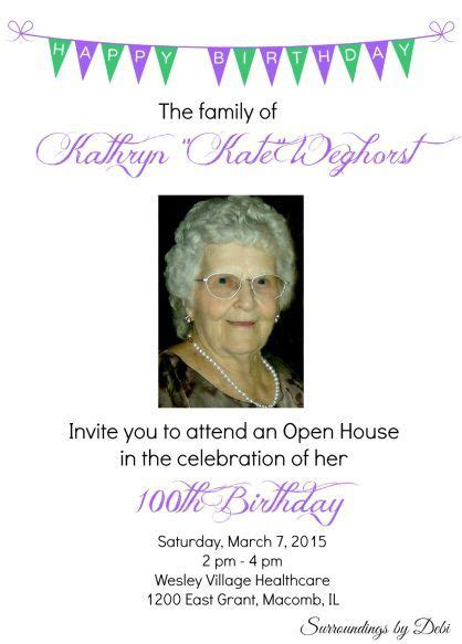 100th Birthday Party Ideas Celebrating 100 Years Of Life Pinterest Birthday Party Ideas 100th Birthday Invitation Templates Free