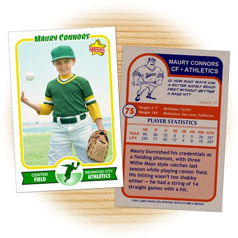 Baseball Card Statistics Template by Custom Baseball Cards Retro 75 Series Cards