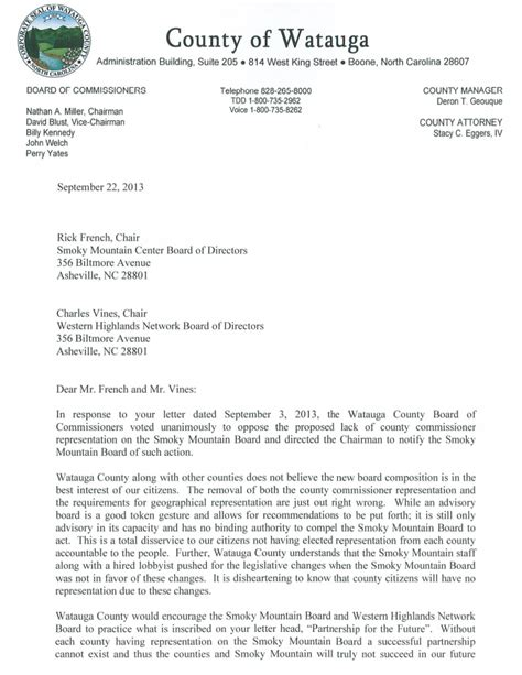 business letter salutation board of directors watauga county commissioners to smoky mountain board of