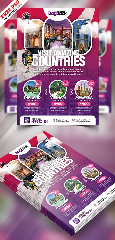 Tour Flyer Template Psd travel packages flyer template psd psdfreebies