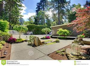 Backyard Pool Landscaping Ideas Modern Front Yard Landscape With Walkways And Rocks Stock