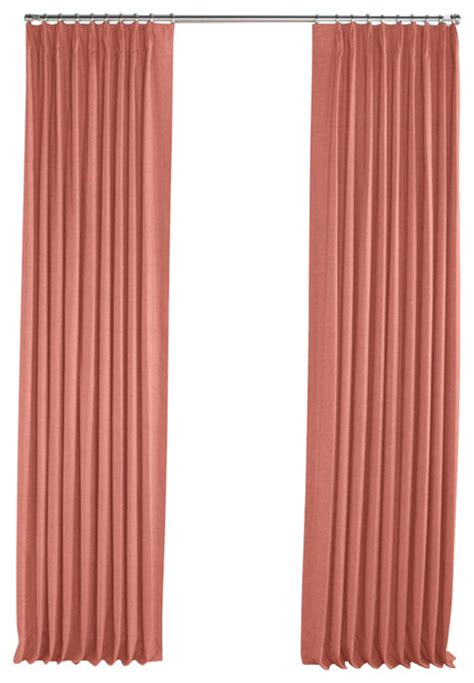 Salmon Pink Linen Pleated Curtain Single Panel
