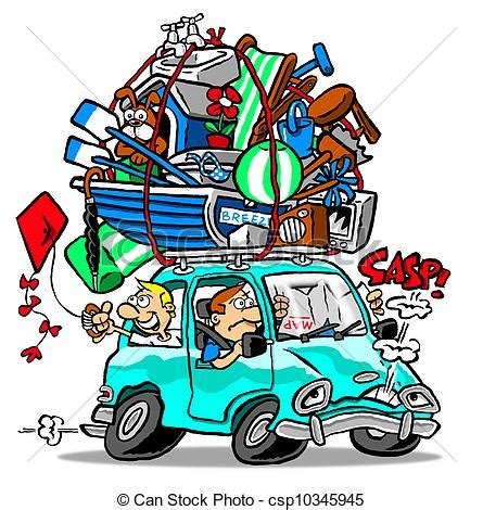 Small Vacation Home Plans drawing of car trip family road vacation in overloaded