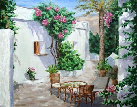 pinturas de patios andaluces patio andaluz cuadro original 211 leo sobre lienzo comprar