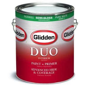 home depot paint sheen glidden duo 1 gal white semi gloss interior paint and