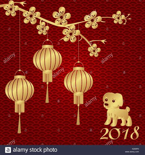 new year 2018 lanterns new year 2018 year of the stylized