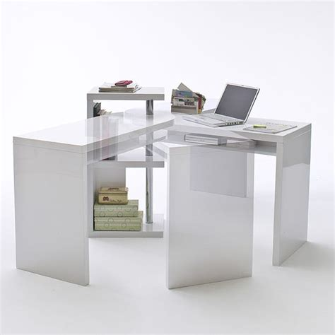 Sydney Rotating Office Desk In High Gloss White 40126w Corner Computer Desk White