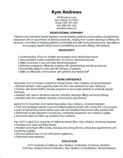 dental assistant resume sample ersum throughout 15 excellent for