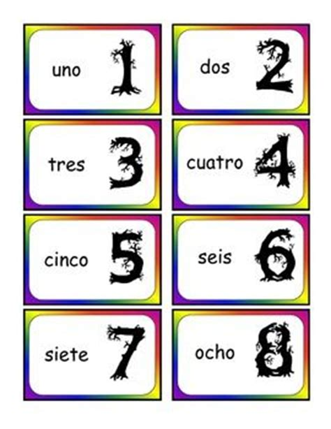 printable number flash cards in spanish spanish number cards preschool ideas pinterest