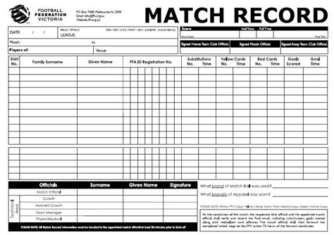 referee match card template 28 images of soccer player report card template