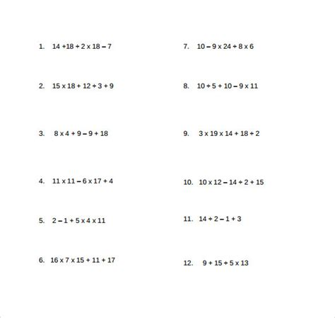 operations order template sle order of operations worksheet 14 free documents in pdf word