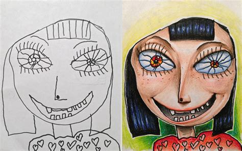 how todraw a 12 year old boy creative dad colors his kids drawings bored panda