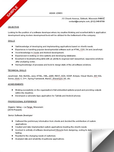 resume exles software developer resume format resume template software developer