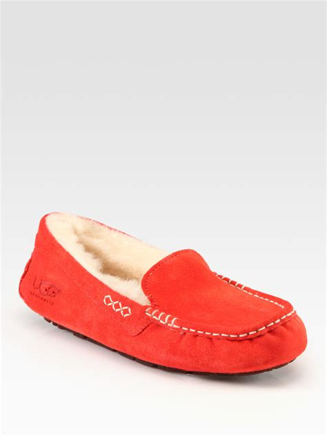 ansley slipper ugg ansley suede moccasin slippers in koi lyst