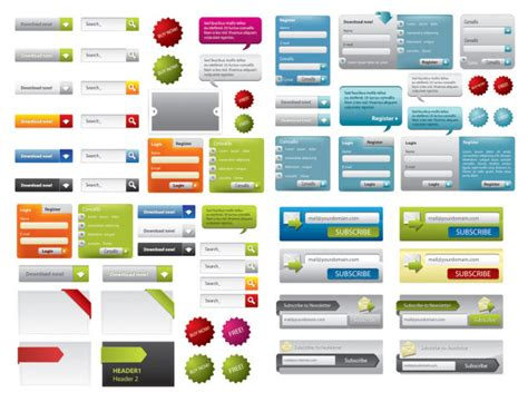 design elements used in a website a variety of web design elements vector material over