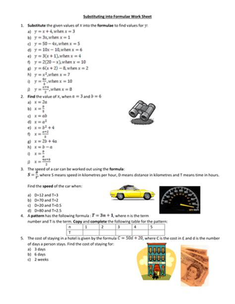 substituting in formulae worksheet by amylob teaching resources tes