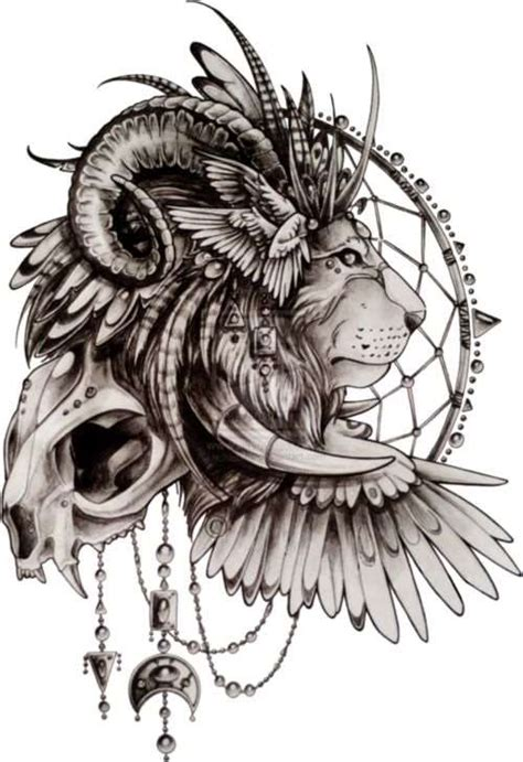 lion skull tattoo 60 best dreamcatcher tattoos ideas