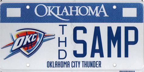 city plates oklahoma tax commission oklahoma city thunder license plate
