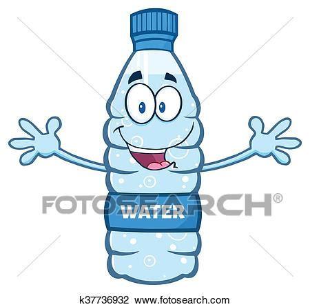 clipart acqua acqua bottiglia di plastica con aprire bracci clipart